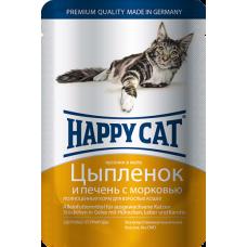 Happy Cat Adult Цыпленок и Печень с Морковью (в желе)