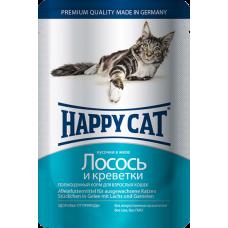 Happy Cat Adult Лосось и Креветки (в желе)