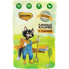 Мнямс Сочные Кусочки для кошек с курицей «Фермерская ярмарка» линия Кот Федор 85 г