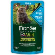 Monge BWild Cat Grain Free Anchovies & Vegetables Pouch