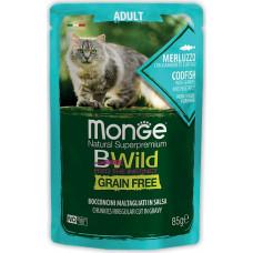 Monge BWild Cat Grain Free Cod Fish, Shrimps & Vegetables Pouch