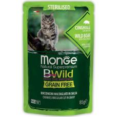 Monge BWild Cat Grain Free Sterilised Wild Boar & Vegetables Pouch
