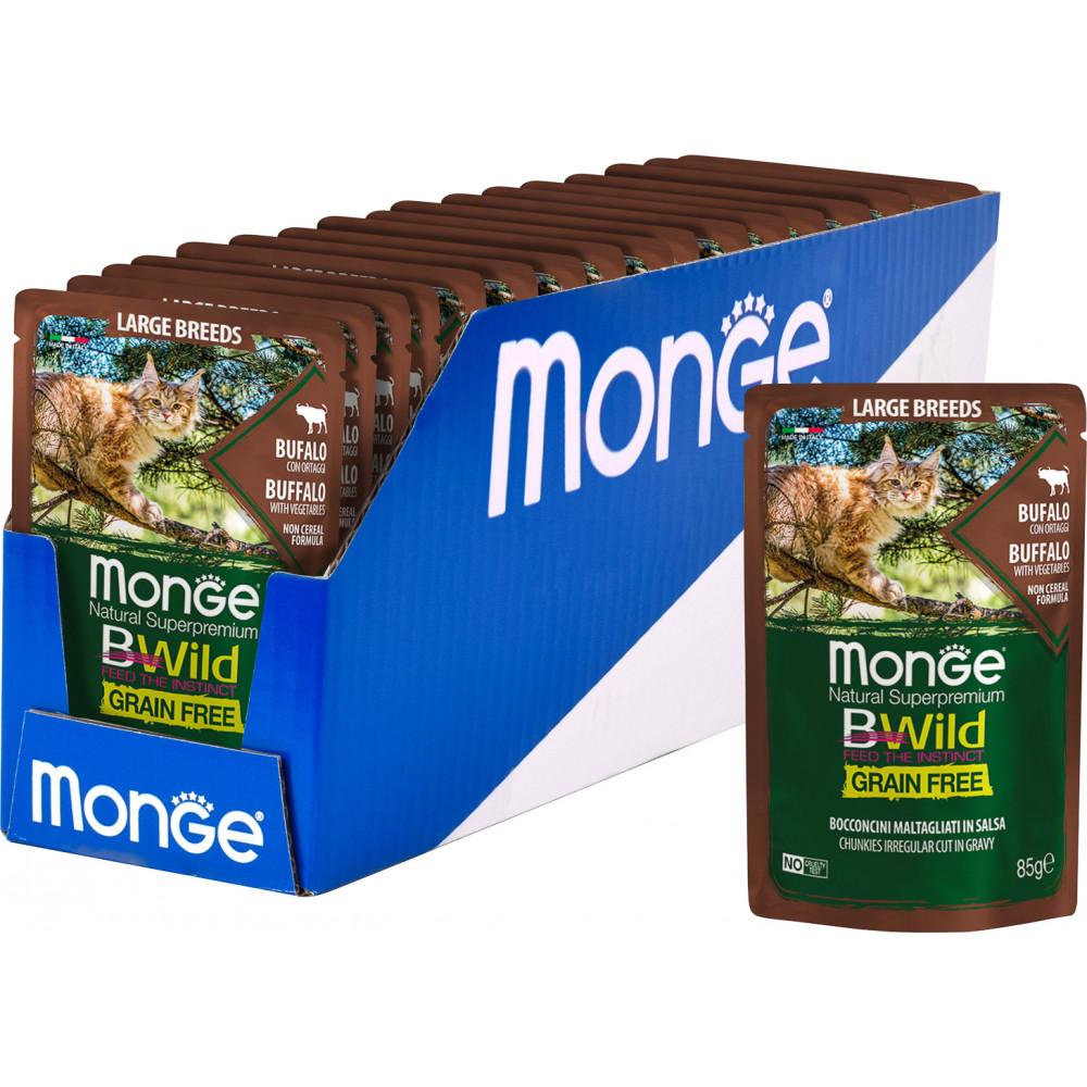 Monge BWild Cat Grain Free Large Breeds Buffalo & Vegetables Pouch