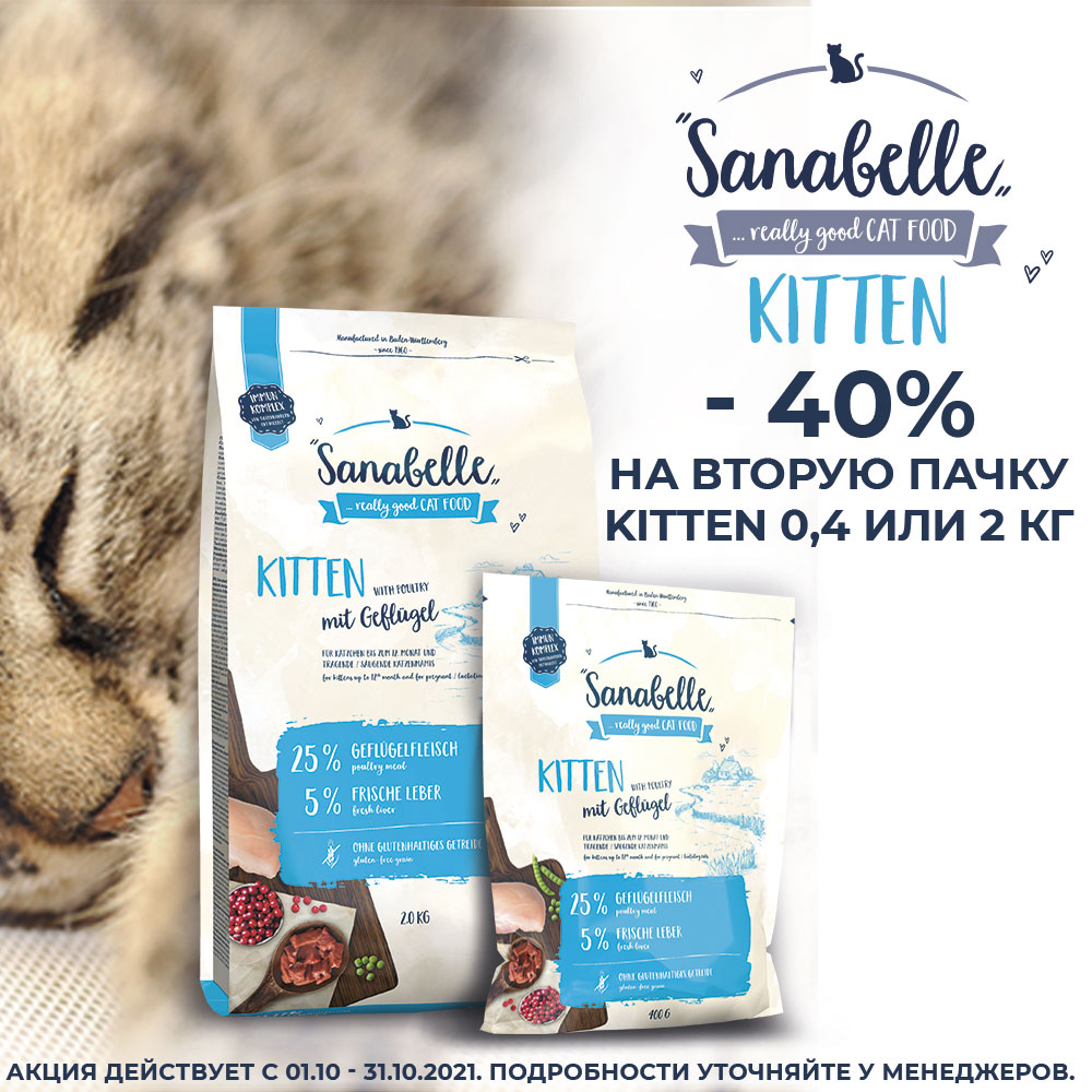 -40% на 2ую пачку Sanabelle! Скидка на корм для котят!