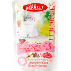 Berkley Cat Fricassee Poultry, Chicken Hearts & Berries in Jelly