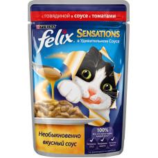 Purina Felix Sensations (кусочки в соусе с говядиной и томатом)
