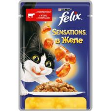 Purina Felix Sensations (кусочки в желе с говядиной и томатами)