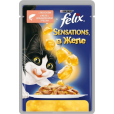 Purina Felix Sensations (кусочки в желе с лососем и треской)