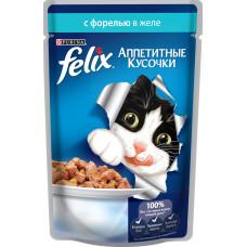 Purina Felix (аппетитные кусочки c форелью в желе)