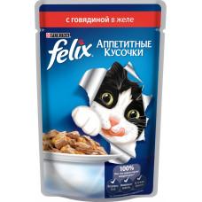 Purina Felix (аппетитные кусочки c говядиной в желе)