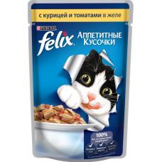 Purina Felix (аппетитные кусочки c курицей и томатами в желе)