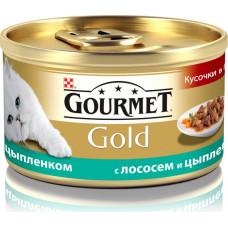 Purina Gourmet Gold (кусочки в подливе с лососем и цыпленком)