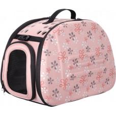 Ibiyaya складная сумка-переноска для собак и кошек до 6 кг (бледно-розовая в цветочек)