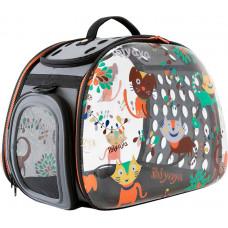 Ibiyaya складная сумка-переноска для собак и кошек до 6 кг (прозрачная,  дизайн Dogs&Cats)
