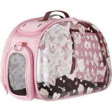 Ibiyaya складная сумка-переноска для собак и кошек до 6 кг (прозрачная/розовая, дизайн Сердечки)