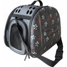 Ibiyaya складная сумка-переноска для собак и кошек до 6 кг (серая в цветочек)
